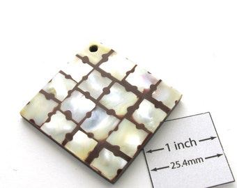 White Shell Mosaic and Brown Acrylic above Horn 40mm x 40mm Square Pendant, 1009-27