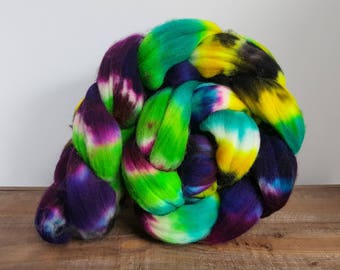 Once Upon a Time- Superwash- Targhee- USA- Organic- combed- wool top- roving- 4oz- Hand Painted-Hand Dyed