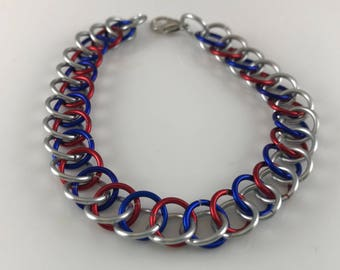 Sale 25% off Red Blue and Silver Half Persian Chainmaille Bracelet
