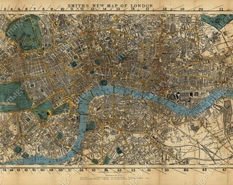 Large Old Map Of London England 1860 Restoration Hardware Style London Map Wall Map Vintage London map fine art print old map of England