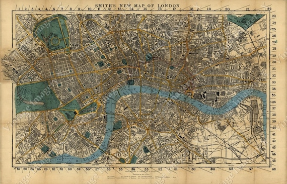 Large Old Map Of London England 1860 Restoration decorator