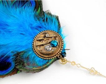 Steampunk Feather and Antique Watch Movement Hair Clip