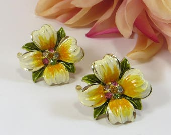 Vintage Flower Clip Earrings, Signed Coro Yellow Cold Painted Enamel Flower Clip On Earrings with Rhinestones, 1960s Vintage Coro Earrings