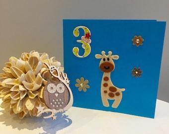 Handmade 3rd birthday card with giraffe