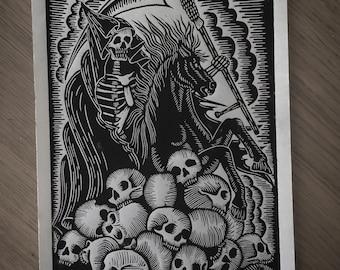 Grim reaper on horse linocut