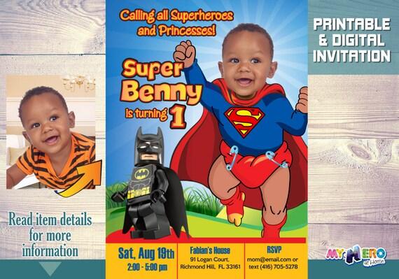 Baby Superman Birthday Invitation 1st Super Birthday Turn