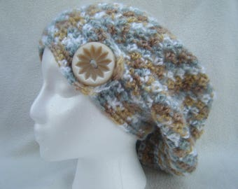 Crocheted Teen/Adult Slouchy Hat With Decorative Button