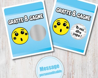 Scratch card _ Ticket scratch Surprise pregnancy announcement as going to be dad!