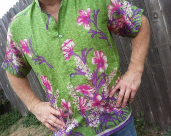 V Neck Men's Unisex Indian Sari Silk Fancy Dress Shirt or Scrubs - Grass Green Pink Floral - Morgan 776