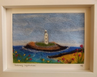 Needle Felted Art Painting of Godrevy Lighthouse, St Ives Bay, Cornwall