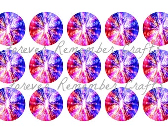 INSTANT DOWNLOAD Red White & Blue Abstract 1 Inch Bottle Cap Image Sheets *Digital Image* 4x6 Sheet With 15 Images