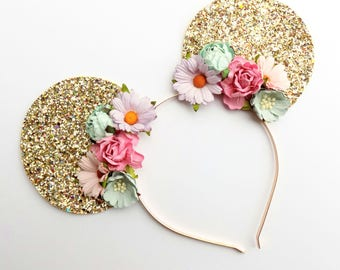 Floral Mickey Ears Headband | Glitter Mickey Ears | Floral Headband | Gold Mickey Ears |