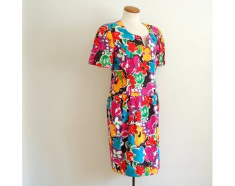 floral mini dress - vintage 80s bright bold pink flower print bodycon linen sheath tight wiggle fit short sleeve retro kitsch medium large