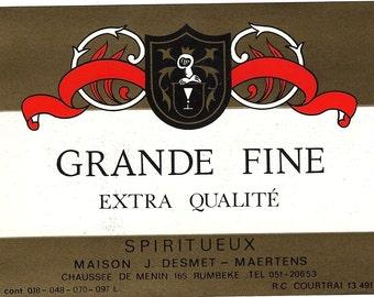 Grande Fine Spiritueux Vintage Label, 1930s