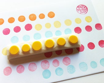polka dot rubber stamp | circle pattern stamp | birthday baby shower card making | diy gift wrapping | hand carved by talktothesun
