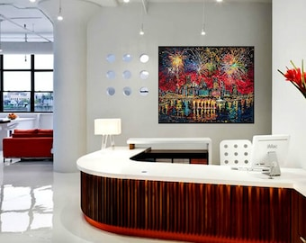Fireworks, 4th of July, Corporate wall art, Pittsburgh fireworks, Man cave wall art, Johno Prascak, Johnos Art Studio