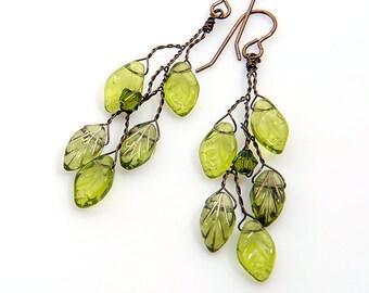 Green Leaf Earrings, Green Twig Earrings, Green Branch Earrings, Green Dangle Earrings, Woodland Jewelry, Twisted Wire Jewelry