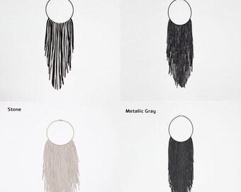 fringe necklace, fabric necklace, collar necklace, tribal necklace, textile jewelry, black necklace, boho necklace