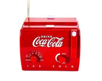 Vintage Coca Cola Radio - Retro Look Coke Radio, Man Cave Decor, Garage Decor, Coca Cola Vintage Classic Cooler Radio