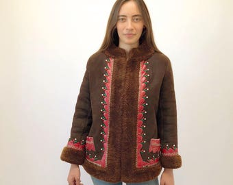 Afghan Suede Jacket // vintage 60s 70s brown coat boho bohemian hippie leather hippy dress festival embroidered shearling hippie // S/M