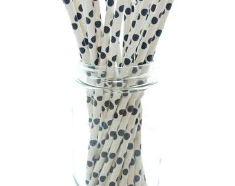 Black Paper Straws, Drinking Straws, Black and White Polka Dot Straws, 25 Pack - Black Polka Dot Party Straws