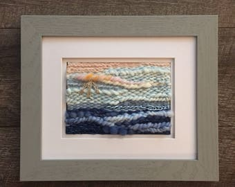 "The Sea Beyond, 8""x10"" Framed Weaving, Hand Woven"