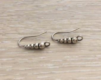 Sterling Silver Ear Wires, Silver Earrings, Earring Hooks, Hoops, 1 pair
