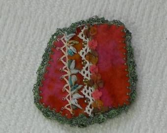 E516 OOAK Handmade Felt Resist Dyed Brooch