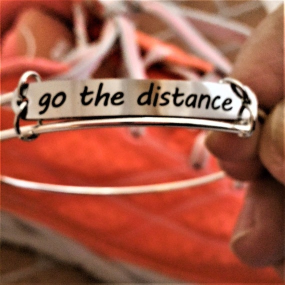 Go the Distance Gifts for Runners, Fitness Charm Wire Bangle Bracelet, Running Marathon Triathlon Jewelry, Inspirational Word Charm Bracelet