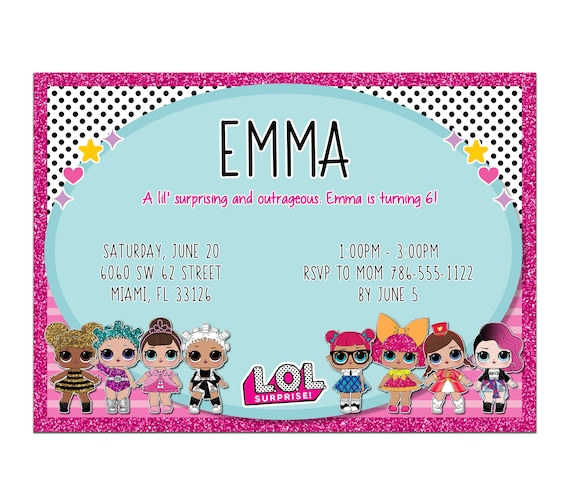 Lol dolls birthday party digital invitation filmwisefo