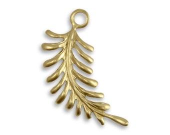 Vintaj Bright Brass Fern Leaf Charm Gold Leaf Charm Pendant Curving Gold Fern Frond Leaves 30x12mm Qty 1