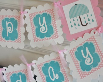 Happy Birthday Turquoise Pink Rainy Day Fun Umbrella Rain Boots April Showers Theme Banner - Party Pack Specials - Free Ship Over 65.00