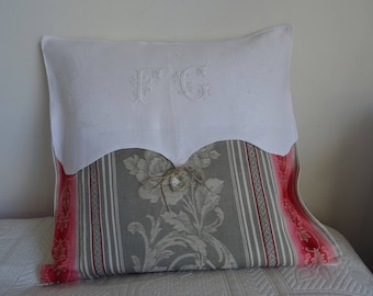 Vintage fabric with Monogram and tassel pillow cover;
