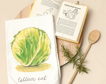Lettuce - Food Pun Flour Sack Towel - Hand Lettered - Watercolor - Kitchen Towel - Gift - Cotton Tea Towel - Fruits & Veggies - Produce