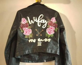 Handpainted faux leather jackets