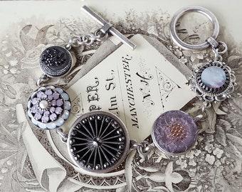 Antique Button Charm Bracelet, striking Gold, Black and Crystal Button Jewelry, Toggle Bracelet Antique Button Bracelet veryDonna