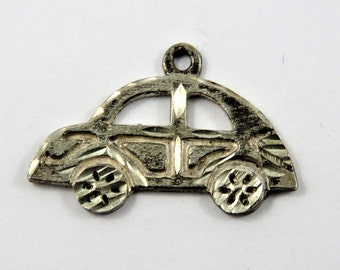 Side Profile of a Volkswagen Beetle  Sterling Silver Charm or Pendant.