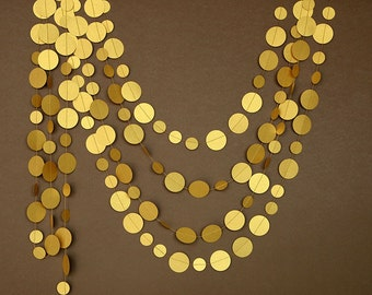 Gold decor, Gold wedding decor, Gold decorations, Gold wedding garland, Gold garland, gold party decor, Paper garland, PCG-5308