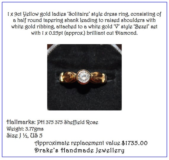 0 25ct Diamond Engagement ring Valuation 1 730K UK Hallmarks