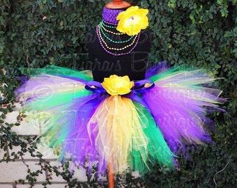 """Purple Green Yellow Tutu - Mardi Gras - 11"""" pixie tutu - Custom SEWN Tutu - Girls sizes 6 to 8"""