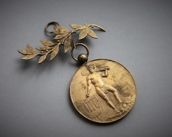 Rare 1899 French International Gymnastic Competition Award Medal Pendant / Fisch and Co