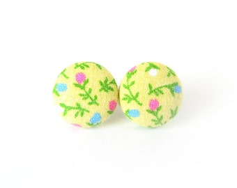Yellow fabric earrings - bright floral button earrings - flower stud earrings - tiny jewelry - spring accessories - happy earrings