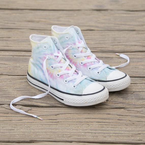 Children's Kids Converse Toddler Youth Canvas Tie Dye Rainbow Low Top w/ Swarovski Crystal Rhinestone Chuck Taylor All Star Sneaker Shoe