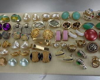 Clip Screw Earrings Lot 30 Pairs Use Repurpose Vintage Estate