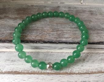 Aventurine Bracelet~Green Aventurine Bracelet~Green Bracelet~ Bead Bracelet~Stacking Bracelet~Stretch Bracelet~Eleanor Rose Jewellery