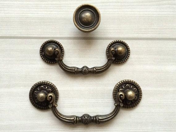 3 vintage look drop bail dresser knobs drawer. Black Bedroom Furniture Sets. Home Design Ideas