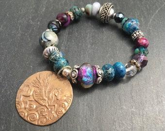 Basha Bead Bracelet, Green Girl Studio Pegasus Bracelet, Fantasy Bracelet, Handmade Gold Bronze, Coin Bracelet, Mixed Bead Stretch Bracelet