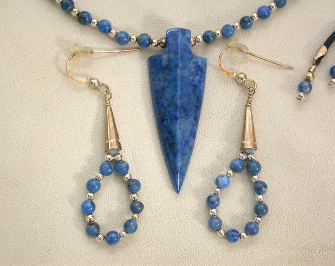 Featured listing image: Blue Lapis Arrowhead Necklace and Earring Set