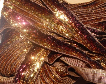 Ribbon 10mm brown/gold glitter the meter