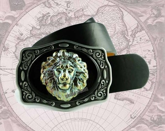 Belt Buckle Lions Head in Verdigris Brass Inalid in Hand Painted Enamel Neo Victorian Safari Leo  Custom Colors Available